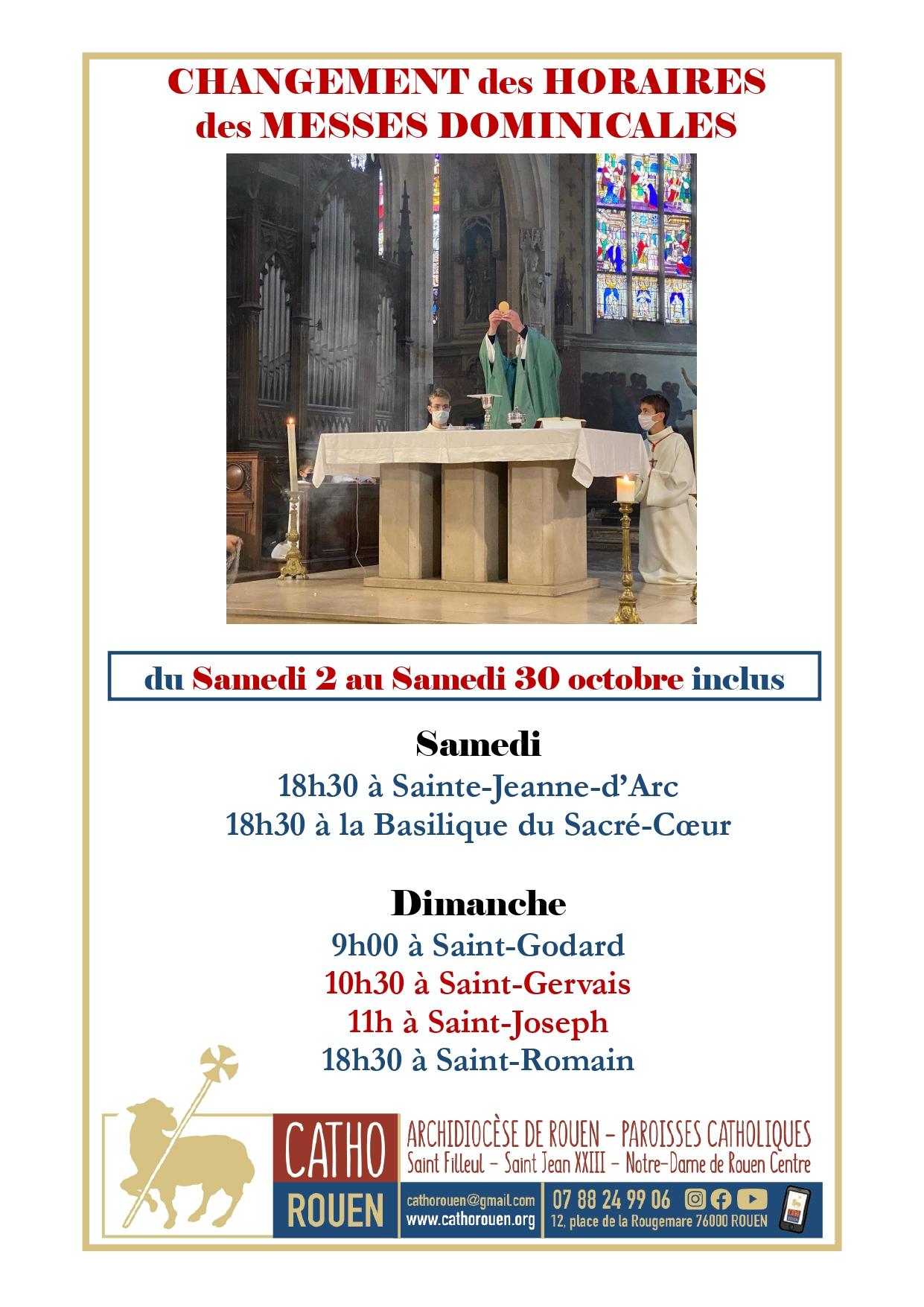 changement d'horaires des messes dominicales